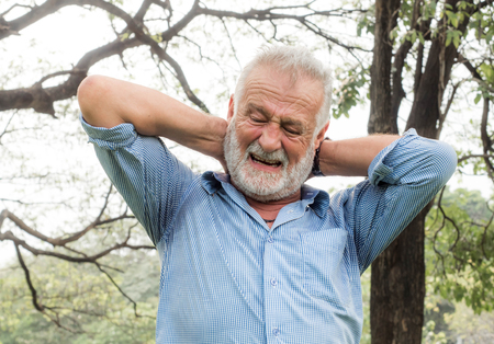 Pain in the neck of an old man could be an headache or back ache, Back Pain In The Elderly, Health care