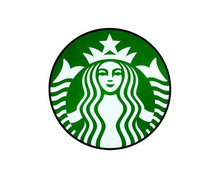 Bangkok, Thailand - April 18, 2017: Starbucks logos printed on paper. Starbucks is the largest coffeehouse company in the world.