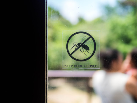 Mosquito, Keep door closed, A door with a symbol mosquito danger sign template