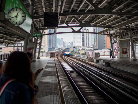 BANGKOK, THAILAND - October 6, 2018: BTS sky train empty station in Bangkok Thailand. Editorial