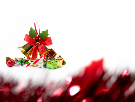 Christmas decoration items with small elements. flat lay decoration isolated on white background. Attributes of the New Year. 스톡 콘텐츠