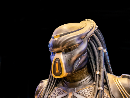 Bangkok, Thailand - February 2, 2019: Close-up of Predator from the movie The Predator Displays at the Theater ICON CINECONIC.
