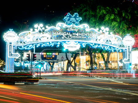 Orchard Road, Singapore - Nov 23, 2018: Christmas Festival, Disney Theme Celebration, Orchard Road the main shopping district in Singapore