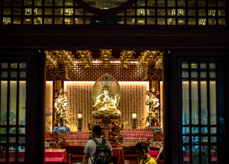 Singapore - Nov 24, 2018: Buddha Tooth Relic Temple and Museum in the Chinatown district. The Buddha Tooth Relic Temple is a popular tourist destination of Asia.