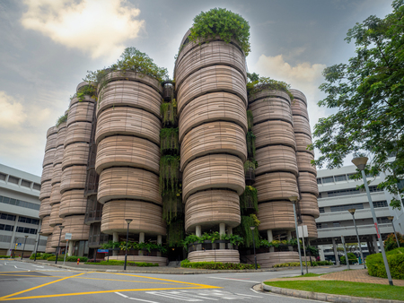 SINGAPORE - NOV 24, 2018: The Hive at Nanyang Technological University (NTU). The building was awarded the Green Mark Platinum in 2013