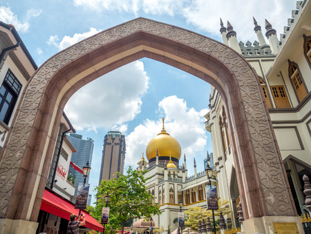 Haji Lane, Singapore Nov 26, 2018; Main view of Masjid Sultan at Muscat Street in the Kampong Glam. Muslim quarter (Arab quarter) of Singapore is a popular touris.
