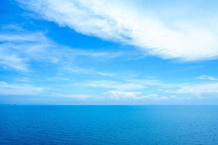 Calm Sea Ocean and light blue sky Background.