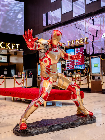 Bangkok, Thailand - May 7, 2019: Life-size Superhero Iron Man model show in Avengers Endgame exhibition booth at iconsiam, Iron Man is a fictional superhero in American comic books published by Marvel Comics.