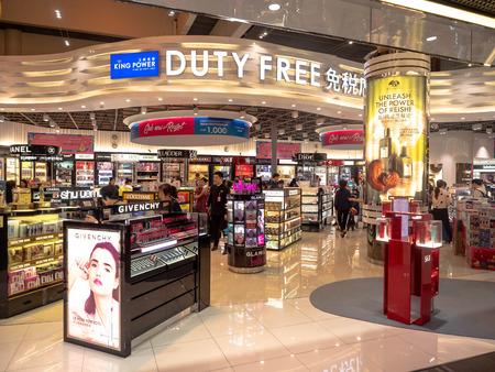 Bangkok, Thailand - 12. Mai 2019: Außenansicht des King Power ein Duty Free Souvenirladen am Flughafen Don Muang in Bangkok, Thailand. Editorial