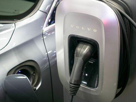 BANGKOK, THAILAND - APRIL 3, 2019: Image of Volvo renewable energy electric cars in motor show 2019 Arina, Muangthong Thani, Bangkok, Thailand. Redakční