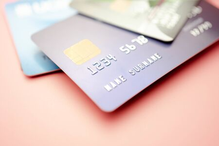 Credit card close up shot with selective focus for background, Finance concept.