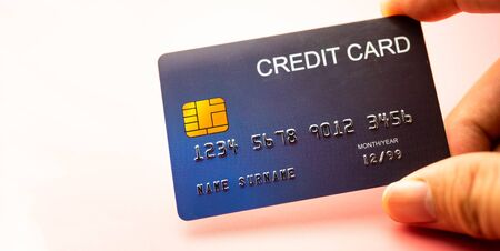 Hand holding credit card, Finance concept. copy space background for text