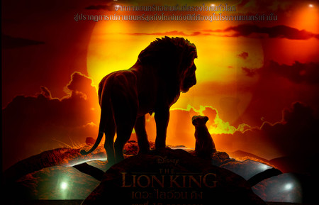 Bangkok, Thailand - June 21, 2019 : A photo of movie  standee of the Lion King (2019) movie promote in front of the theatre.