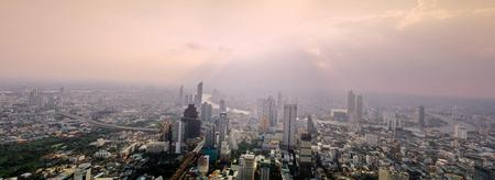 Bangkok, Thailand - September 27 2019: Panoramic view of the Bangkok city Located at the top of King Power Mahanakhon Building, Mahanakhon skywalk, observation deck 314 meters the peak glass tray.