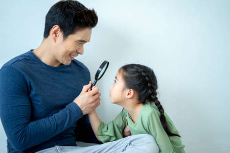 Loving daddy look at little adorable daughter feeling love, profile faces side view, deep devotion warm relationships, love care, closest person, fathers day concept.