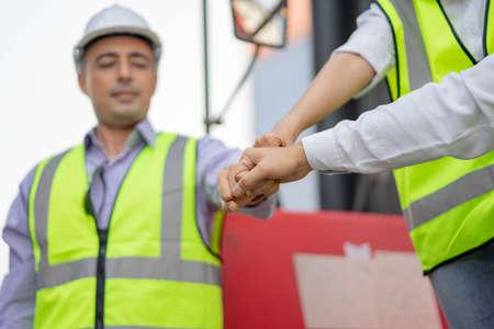 Businessmen hand coordination, Teamwork Concept, Support Together
