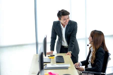 Working together on project. Startup business partners working together in desktop. Standard-Bild