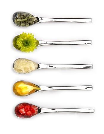 bing: Five well bing items on silver spoon Stock Photo