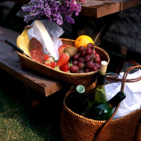 Fruits and wine on picnic table Stock Photo - 4353569
