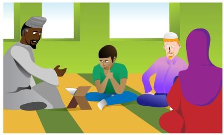 イスラム教徒の教師のモスクで学生の多様なグループに宗教的なトピックについて説明します。レイヤーはイマーム先生、ひげの有無の変化などが  イラスト・ベクター素材