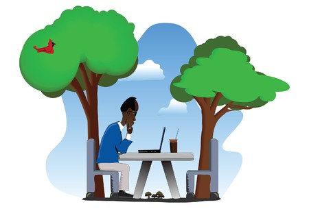 Middle-aged man using a laptop on a table outdoors.  Vector
