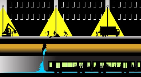 A night scene with workers trying to access an underground broken water main pipe that is flooding a subway tunnel as passengers are evacuated. Each element is on its own layer for easy adjustments. File includes clipping masks in layers that extend beyo