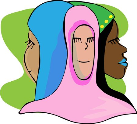 Three beautiful Muslim women smiling with eyes closed in meditation or prayer. Vector