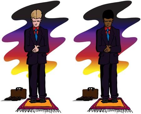 Un hombre de negocios musulmán en la posición de pie durante las oraciones diarias musulmanes después de la puesta de sol o justo antes de la salida del sol durante el mes Islámico del Ramadán. Contiene 2 variaciones para hombres de piel más clara o más oscuras.  Ilustración de vector