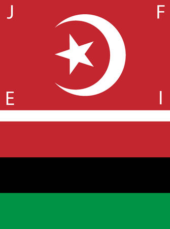 social history: Set of American Black Nationalist and Nation of Islam Flags. Illustration