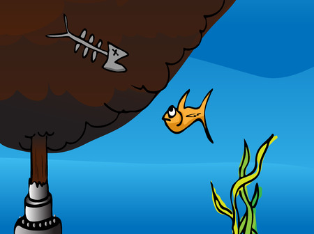 Cartoon of a fish watching the dead remains of another fish at a broken oil pipe gushing crude into the ocean.