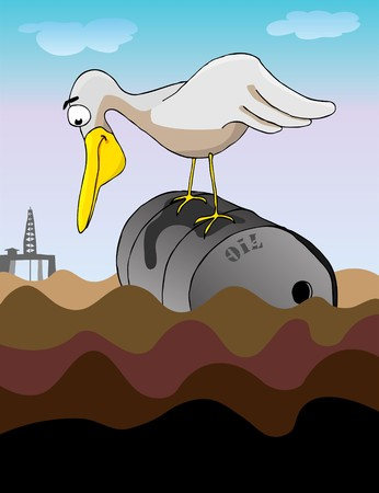 A large bird perched on a dented steel barrel gazes into an oil-coated ocean for a meal. Behind is a drilling platform. Vector