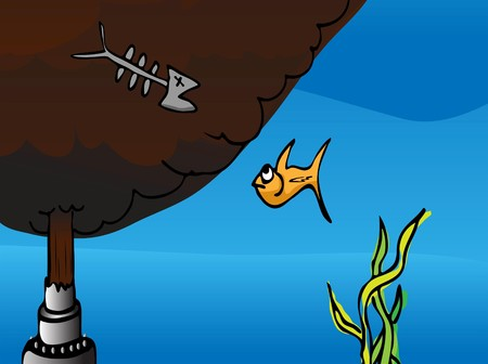 gush: Cartoon of a fish watching the dead remains of another fish at a broken oil pipe gushing crude into the ocean.
