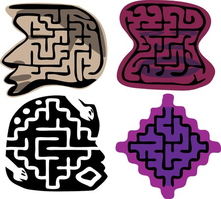 Set of four beginner-level mazes (ages 3-6) in layers. Shapes and details inspired from African and Native American sculptures.  Vector