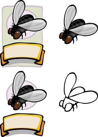 Wariacje logo marki Mucha domowa i etykiety dla wszystkich rodzajów użytkowania.