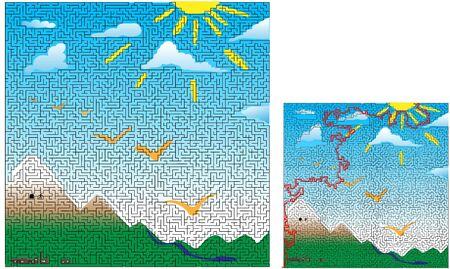 An advanced level maze drawn around a mountain villa scene. Includes the solution. 向量圖像