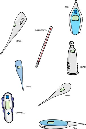digital thermometer: A set of 8 thermometer illustrations, both digital and traditional mercury types.
