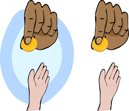 Hands and giving a gold coin symbolizing charity for Ramadan, Christmas or other occasions.