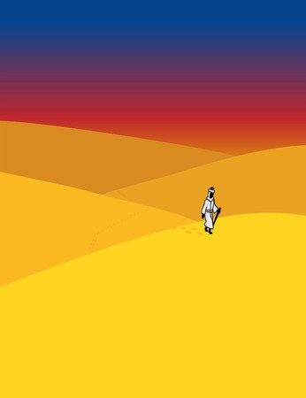 A Muslim holy man in traditional Arab garb walking through a desert during the Islamic calendar month of Ramadan. Stock Illustratie