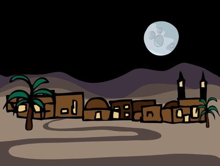夜の満月との東の砂漠の町の近くの小さな