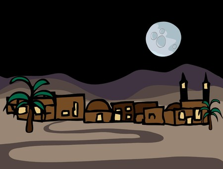A small near east desert town with full moon at night