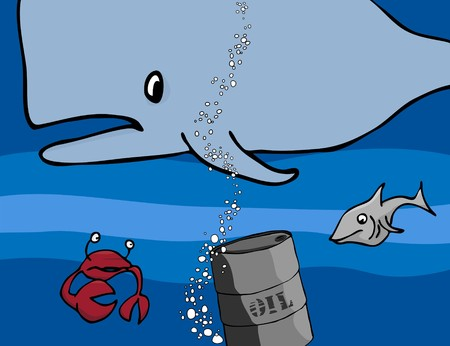 natural disaster: An oil barrel sinks past a whale, crab and shark on its way down to the ocean floor. Illustration