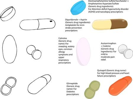 diabetico: Parte 2 de un conjunto de ilustraciones de f�rmacos y medicamentos que pueden utilizarse en cualquier color de la p�ldora o como tipos espec�ficos que se muestra  Vectores