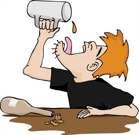 alcoholist: Een dronken man leegt de laatste druppel alcohol op zijn tong.