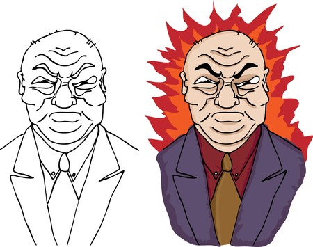 A furious businessman in suit and tie with a hellish halo. Includes black ink version. Illustration
