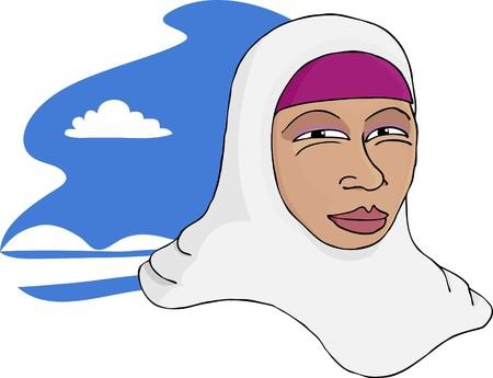 静かな自然な背景を持つ美しい笑顔アジア ムスリム女性の肖像画。