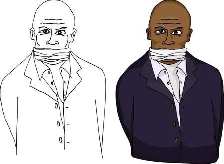 Ein gefesselt und geknebelt Geschäftsmann isoliert auf weißem Hintergrund.