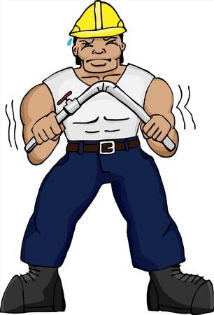 tough man: Muscular Asian construction worker bending a pipe.
