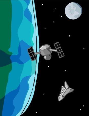 スペースシャトルは背景の月と地球の周りの軌道上で衛星上閉じます。