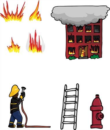 様々 な火戦いのコレクション 1 関連する要素。  イラスト・ベクター素材