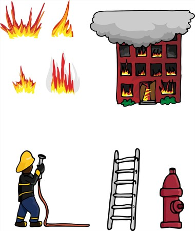 Collection 1 of various fire fighting related elements. Vector